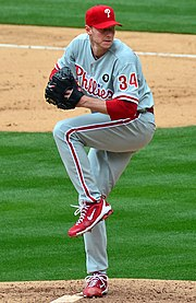 Roy Halladay wearing the current Phillies road uniform (with