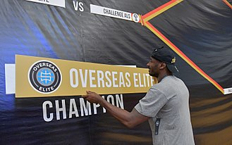 The Basketball Tournament - Justin Burrell advancing Overseas Elite's name on the bracket after winning the 2017 championship