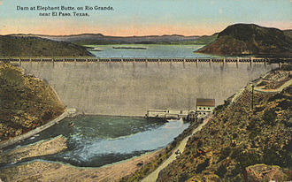 Elephant Butte Dam - Dam at Elephant Butte, on Rio Grande, near Truth or Consequences, NM (postcard, circa 1916)