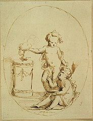 Two cherubs by an altar in a medallion