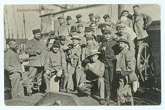Denmark expedition - Expedition members on the deck of the ship