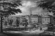 Lithograph of the President's House, Thornton Hall, Dartmouth Hall, and Wentworth Hall, circa 1834. The lithograph depicts the reverse of the actual scene.