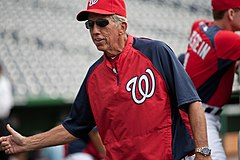Davey Johnson jako menadżer Washington Nationals.