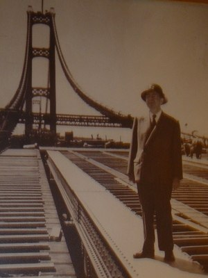 David B. Steinman - Steinman on the Mackinac Bridge