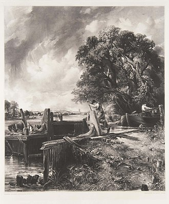 The Lock (Constable) - David Lucas – The Lock and Dedham Vale, 1834, mezzotint.