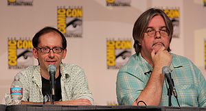 David X. Cohen - Cohen with Matt Groening at the Futurama panel of San Diego Comic-Con International (2009).