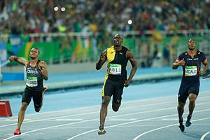 Athletics at the 2016 Summer Olympics – Men's 100 metres - Image: De Grasse, Bolt, Vicaut Rio 2016