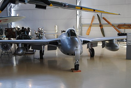 Norwegian De Havilland DH 100 Vampire F.3 displayed at the Norwegian Armed Forces Aircraft Collection De Havilland DH 100 Vampire F.3.jpg