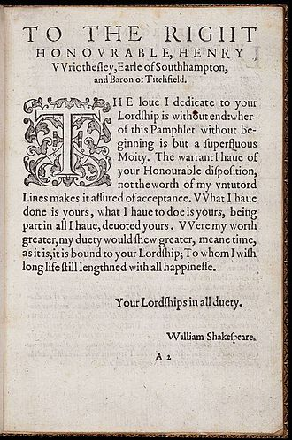 Henry Wriothesley, 3rd Earl of Southampton - Shakespeare's dedication to Southampton of The Rape of Lucrece, 1594