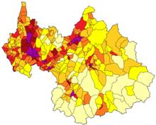 Carte des communes de la Savoie colorées selon la densité de population