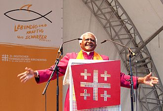 Protestantism in South Africa - Archbishop of Cape Town Desmond Tutu, seen here speaking at the German Evangelical Church Assembly, is an influential theologian of the Anglican Church of Southern Africa