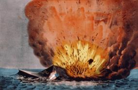 """Presaĵo: Detruo de la ribelantoŝipo """"Merrimac"""" de Crany Island; publikigite fare de Currier kaj Ives"""