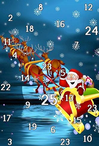 Advent calendar - An Advent calendar featuring Santa Claus riding his sleigh