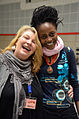 Die!!! Weihnachtsfeier 2013, 095 Kristin vom Organisationsteam und die Kinder- und Jugendbuchautorin Agatha Ngonyani (Ombeni©).jpg