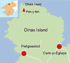 Cwm-yr-Eglwys - Dinas Island showing Pen-y-fan, its highest point, Dinas Head and the small settlements of Cwm-yr-Eglwys and Pwllgwaelod. Inset: location within Pembrokeshire