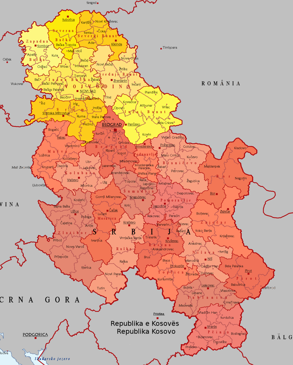Districts and Municipalities of Serbia