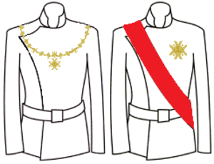 Order of Saint Januarius - Decoration with collar (left) and with sash and star (right)