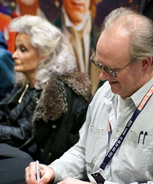 Kate O'Mara - O'Mara and Peter Davison at the Doctor Who 50th-anniversary celebration.