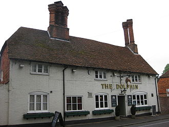 Hursley - Dolphin Public House with its distinctive chimneys