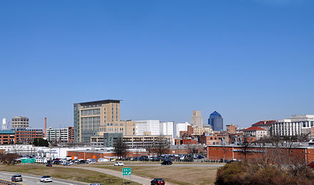 Durham skyline seen from above the Durham Freeway Downtown Durham.jpg