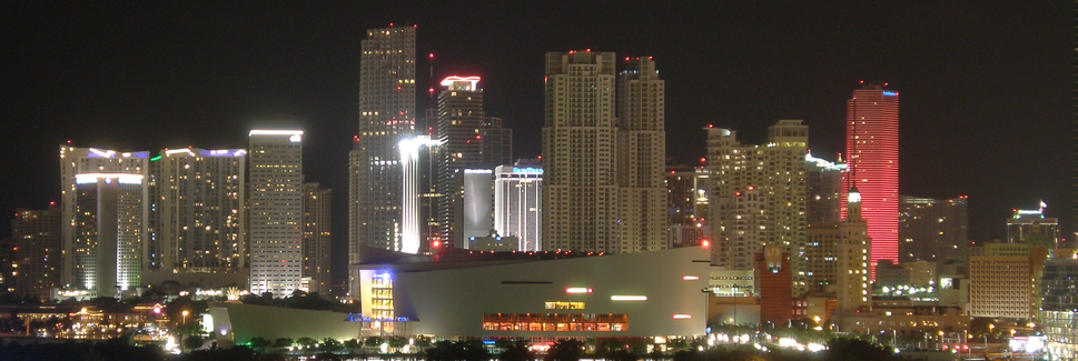 Downtown Miami at night American Airlines Arena