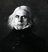 A black and white image, likely the reproduction of a painting, depicting a middle-aged man with long white hair