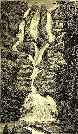 Dudhsagar Falls - Dudhsagar falls in the early 1850s as seen by Antonio Lopes Mendes