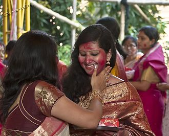 Durga Puja - Playful smearing of vermilion on Vijaya Dasami of Durga Puja, West Bengal