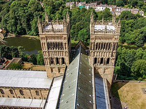 Church architecture of England - Roof and Towers of Durham Cathedral (1093-1135)