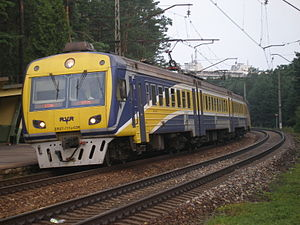 Transport in Latvia - One of RVR ER2T trainsets operated by Pasažieru Vilciens