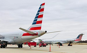 Joplin Regional Airport - A pair of American Eagle (Envoy Air) Embraer aircraft await return to Dallas/Fort Worth (2017)