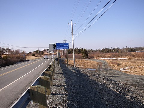 Route 207, part of Nova Scotia's Marine Drive scenic route, passes through East Lawrencetown. East Lawerencetown.JPG