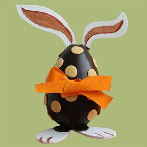 English: A chocolate egg decorated with bunny ...