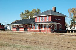 Former Canadian National Railway station in Eatonia