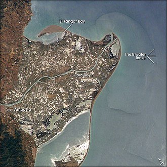 Ebro Delta - The Ebro River delta at the Mediterranean Sea from space