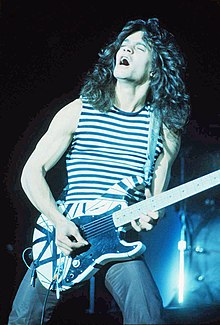 Van Halen performing in the late 1970s with his Frankenstrat