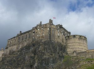 Edinburgh Castle - The castle is built on a volcanic rock, as seen here from the West Port area