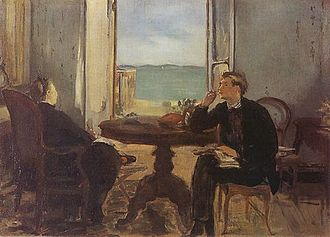 Suzanne Manet - Édouard Manet, Interior at Arcachon (Mme Manet and Léon Leenhoff), 1871, Clark Art Institute, Williamstown, Massachusetts