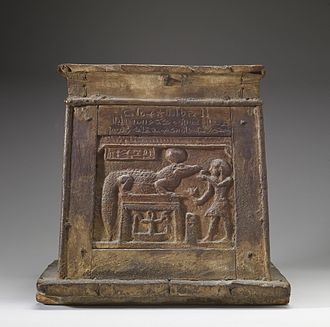 Sobek - This Roman period box shows a king making an offering to a solar form of Sobek. It is thought that this box could have been used in such offering rituals. Walters Art Museum, Baltimore.