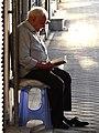 Elderly Man Reads in Early-Evening Light - Qazvin - Northwestern Iran (7418425874).jpg