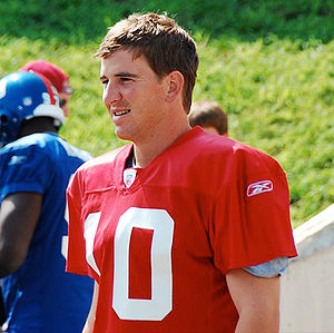 Eli Manning during a 2007 training camp