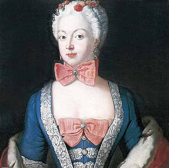 Beau Sancy - Antoine Pesne: Elisabeth Christine with the Beau Sancy in a bow tie (1739)