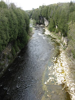 Elora Gorge - The Grand River flowing through the Elora Gorge