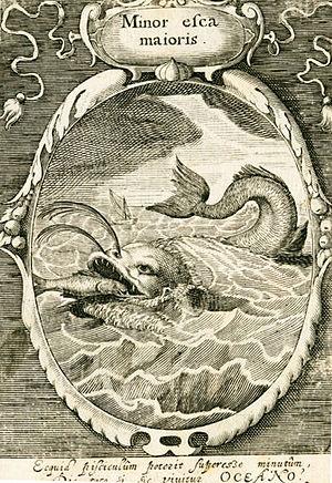 "Emblem - ""The big eat the small"", a political emblem from an emblem book, 1617"
