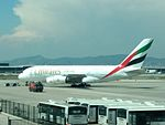 Emirates Airbus A380 at Barcelona airport.jpg