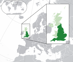 Location of  England  (dark green)– in European continent  (light green & dark grey)– in United Kingdom  (light green)