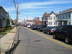 Looking north along Main Street (CR 527) towards Tennent Avenue (CR 522)