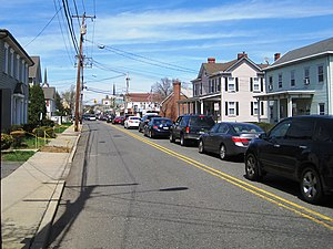 Englishtown, New Jersey - Looking north along Main Street (CR 527) towards Tennent Avenue (CR 522)