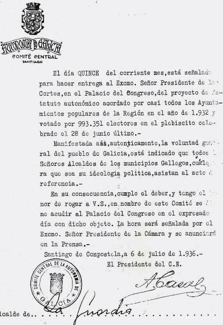 Entrega a Cortes, Estatuto de Galicia de 1936