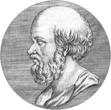 An etching of a man's head and neck in profile, looking to the left. The man has a beard and is balding.